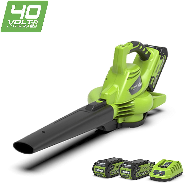Greenworks Souffleur/Aspirateur à feuilles sans fil sur batterie 40V Lithium-ion avec 2 batteries 2Ah et chargeur - 24227UC